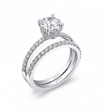 Coast Diamond Charisma Collection engagement ring LC5399A floral petal accents