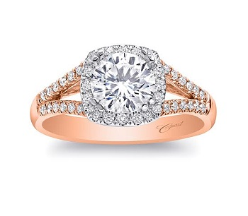 Coast Diamond rose gold halo engagement ring LC5340-RG with diamond split shank