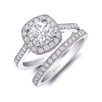 Coast Diamond 1CT halo engagement ring LC5357 pave diamonds milgrain edging