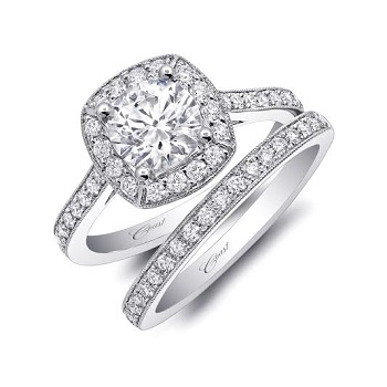Coast Diamond Featured Retailer: LaRog Brothers Jewelers of Portland, Oregon 1 CT halo wedding set (LC5357-WC5357) pave diamonds, milgrain edging