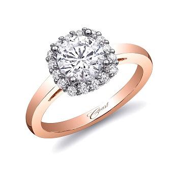Coast Diamond 1CT cushion shaped halo engagement ring LC5381RG vibrant rose gold band