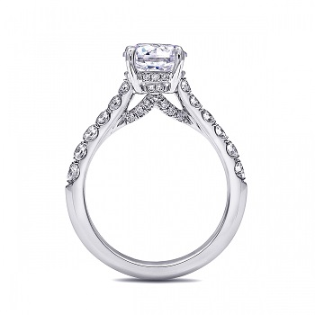 Side view of 1.5CT diamond engagement ring (LS10170) with petite diamond gallery.