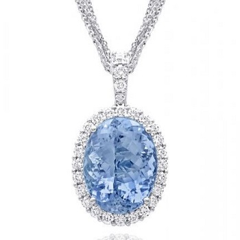 Coast Diamond Signature color collection 13.18CT pear-shaped aquamarine pendant with diamonds