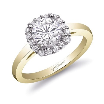 Coast Diamond halo 1 CT engagement ring with yellow gold shank