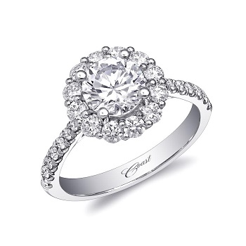 Coast Diamond featured retailer Continental Diamonds Inc, of Atlanta, GA 1 CT round halo engagement ring LC5448