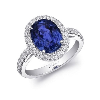 Coast Diamond Signature Color Collection oval sapphire halo ring