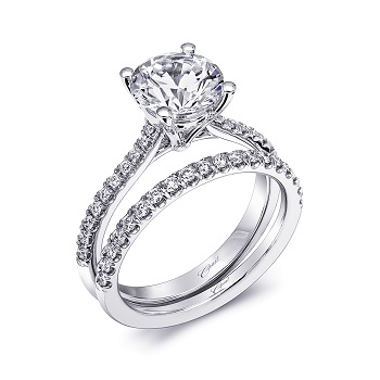 Coast Diamond 2CT solitaire engagement ring LC10020 with diamond wedding band WC10020