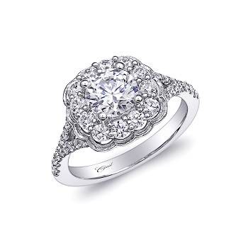 Coast Diamond featured retailer Droste's Jewelry Shoppes Evansville IN floral engagement ring LC6026 milgrain edging fish tail set diamond split shank