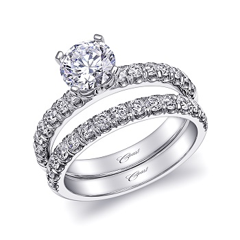 Coast Diamond wedding set LS10005_WS10005 fishtail-set diamond shank