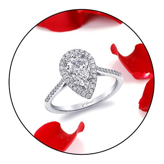 Coast Diamond pear shaped halo engagement ring LC5410