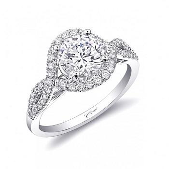Coast Diamond engagement ring LC5449 intertwining diamonds meet to create a halo around center stone