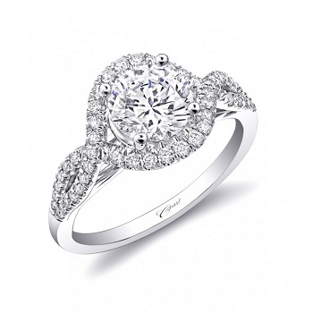 Coast Diamond engagement ring LC5449 intertwining diamonds meet to create a halo around center stone