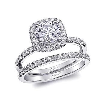 Coast Diamond 1 CT round center stone engagement ring LC10129 with cushion shaped halo matching wedding band WC10129