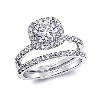 Coast Diamond 1 CT round center stone engagement ring LC10129 with cushion shaped halo matching wedding band WC10129