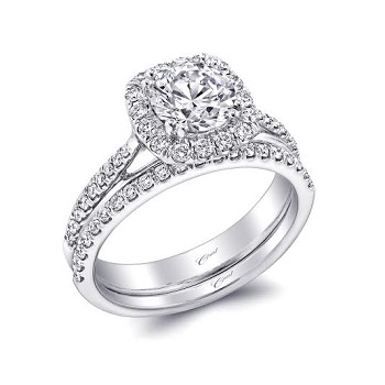 Coast Diamond wedding set LC5356-WC5356 cushion-shaped halo engagement ring with wire trim