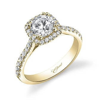 Coast Diamond classic cushion shaped halo engagement ring (LC5256YG) set in yellow gold, diamond shank