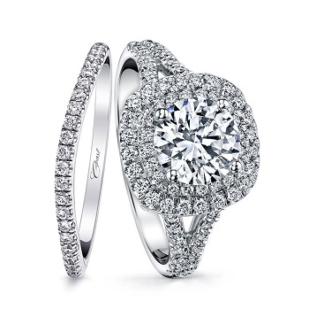 Coast Diamond double halo engagement ring (LC10021) 2 Ct center stone, split shank, matching wedding band (WC10021)