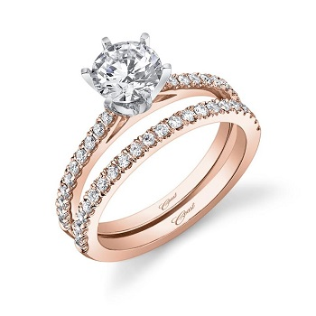 Coast Diamond rose gold wedding set (LC5250RG - WC5250RG) 1 CT round center stone, white gold 6 prong setting, diamond shank