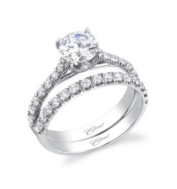 Coast Diamond classic wedding set (LC5219 & WC5219) round diamonds peekaboo diamond