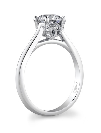 Coast Diamond romantic solitaire diamond engagement ring (LC5226) pave diamond petals peek a boo diamond