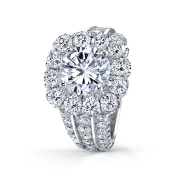 Coast Diamond 3 CT halo engagement ring LS10143, 3 row diamond shank