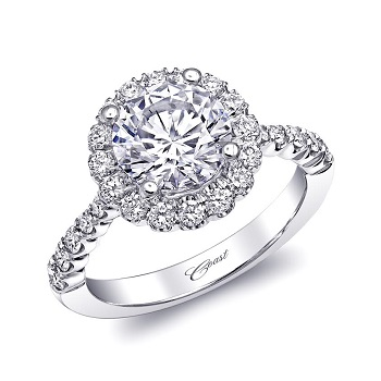 Coast Diamond 2 CT scalloped halo engagement ring LC10037
