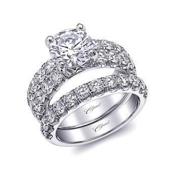 Coast Diamond 2 CT engagement ring LJ6023 matching wedding band WJ6023 fishtail diamond shank