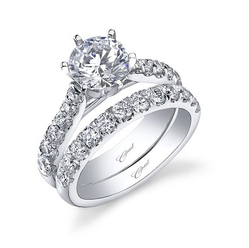Coast Diamond featured retailer Paul's Jewelry of Louisiana 1.5 CT 6 prong engagement ring LC5291 wedding band WC5291