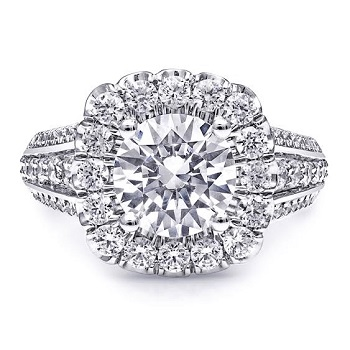 Coast Diamond 2 CT scallop halo engagement ring LC10072-200, 3 row diamond shank, fishtail, prong set