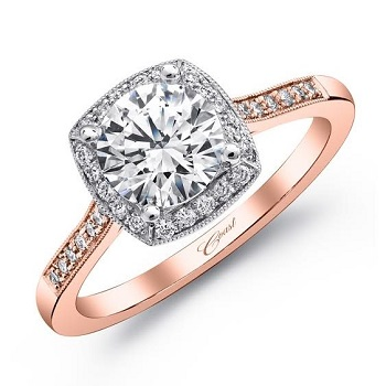 Coast Diamond cushion shaped halo engagement ring LC5391RG pave diamonds rose gold band white gold halo