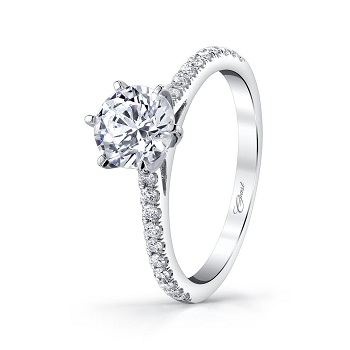 Coast Diamond classic 1 CT engagement ring LC5250, 6 prong setting, diamond shank