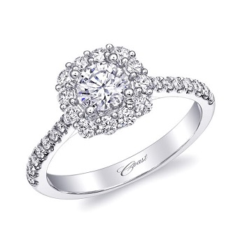 Coast Diamond Featured Retailer Droste's Jewelry Shoppes of Evansville, ID halo engagement ring LC5257-050
