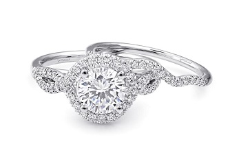 Coast Diamond halo engagement ring (LC5449) with twisting diamond band (WC5449)