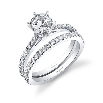 Coast Diamond traditional 6 prong solitaire engagement ring LC5250 wedding band WC5250