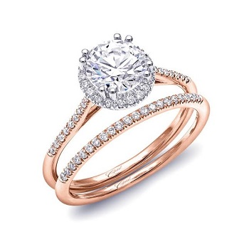 Coast Diamond petite 1CT round halo wedding set in rose gold LC5403 WC5403 double prong