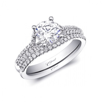 Coast Diamond double split band engagement ring LC10008 matching contoured band