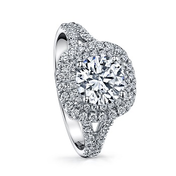 Coast Diamond double halo engagement ring lc10021 split band