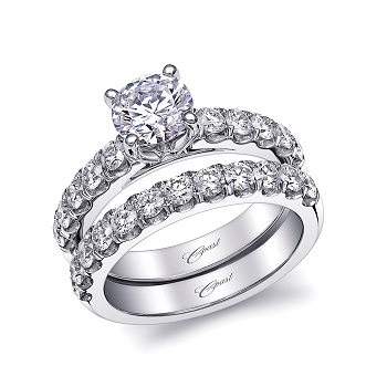 Coast Diamond 1CT traditional 4 prong set solitaire engagement ring LJ6034 and matching band WJ6034 fishtail set diamonds