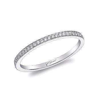 Coast Diamond petite band WC5191H pave set diamonds milgrain edging