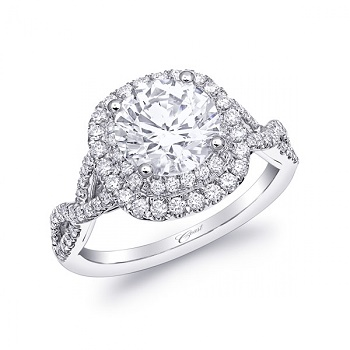 Coast Diamond double halo engagement ring LC10029 braided band