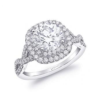Coast Diamond double halo engagement ring LC10029 braided band