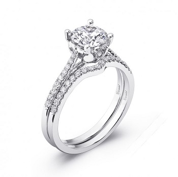 Coast Diamond engagement ring LC5393 with contoured wedding band WC5393