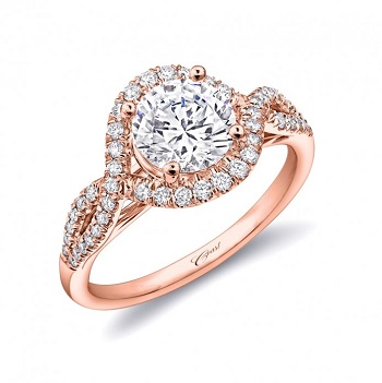 Coast Diamond rose gold twisted band engagement ring LC5449