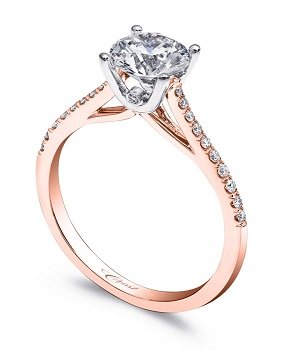 Coast Diamond 1CT solitaire engagement ring lc5388rg rose gold peek a boo diamond