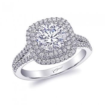 Coast Diamond double halo engagement ring lc10130 split band