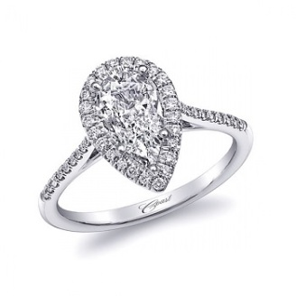 Coast Diamond delicate pear shaped diamond halo engagement ring lc5410-prs