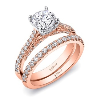 Coast Diamond rose and white gold wedding set LC5447RG_1