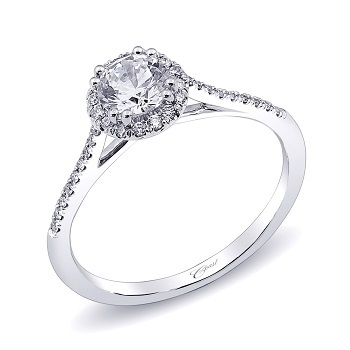 Coast Diamond round halo engagement ring LC5403 petite diamond band