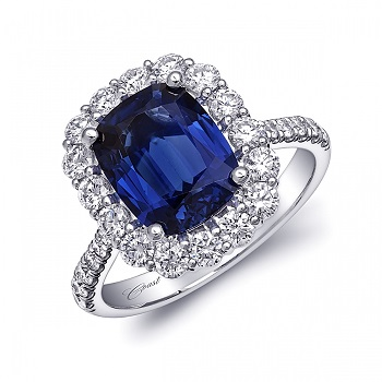 Coast Diamond 3.25CT unheated blue sapphire halo engagement ring LSK10082
