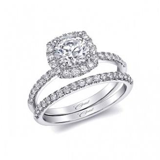 Coast Diamond cushion shaped halo engagement ring LC5409 single prong setting